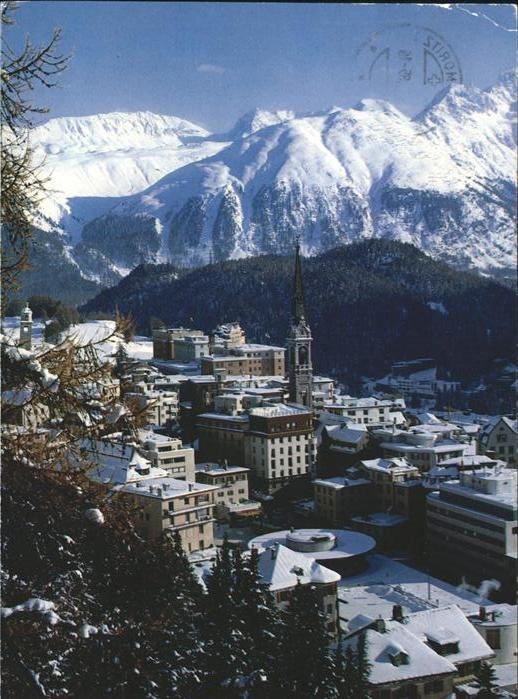 St Moritz GR Panorama im Schnee Kat. St Moritz