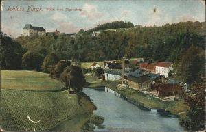 Burgk Saale Orla Kreis Schloss Blick vom Jaegersteig Saale Kat. Burgk
