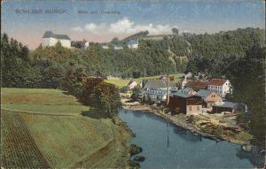 Burgk Saale Orla Kreis Blick vom Jaegersteig auf Saale und Schloss Kat. Burgk