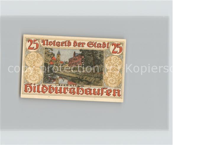 Hildburghausen 25 Pfennig Gutschein Kirche Technikum Wappen Kat. Hildburghausen