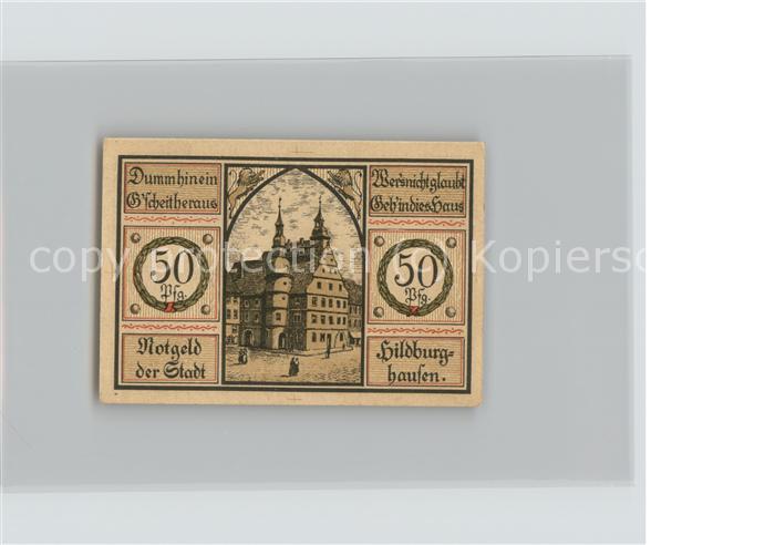 Hildburghausen 50 Pfennig Gutschein Rathaus Wappen Kat. Hildburghausen
