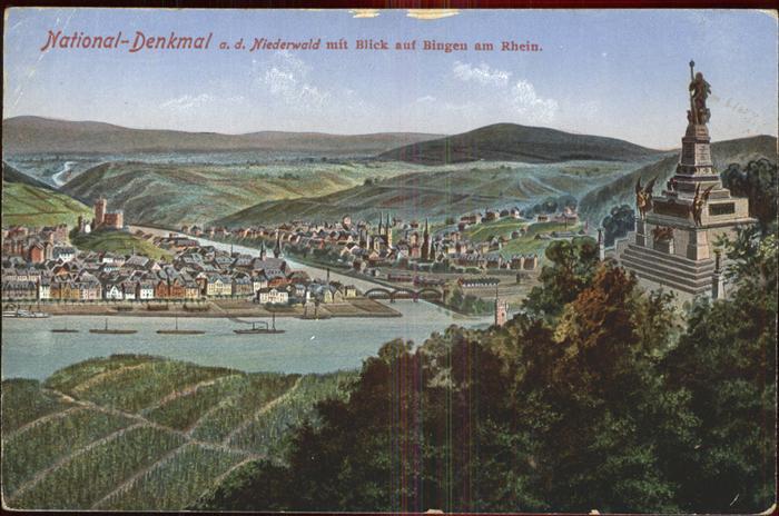 Bingen Rhein Blick vom National Denkmal Kat. Bingen am Rhein