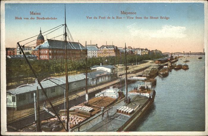Mainz Rhein Blick von der Strassenbruecke auf den Hafen / Mainz Rhein /Mainz Stadtkreis