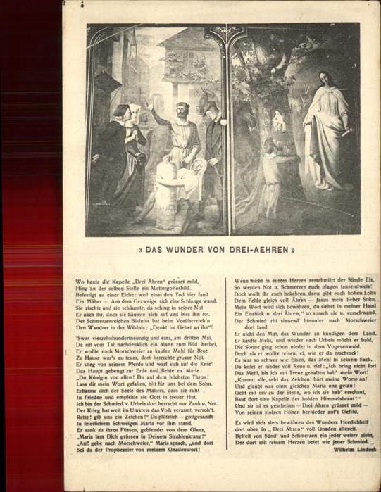 Drei aehren Trois Epis Das Wunder von Drei Aehren Wilhelm Lindeck Kat. Ammerschwihr