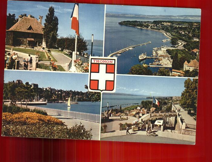 Thonon les Bains Chateau de Sonnaz Port Quais de Rives Hotel Le Belvedere Pointe de Ripaille Wappen Kat. Thonon les Bains