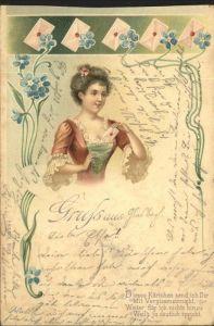 Gruss aus Brief Jugendstil  Kat. Greetings