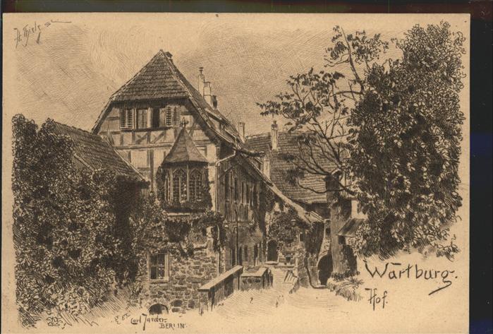 Thiele Arthur Wartburg Hof  Kat. Kuenstlerkarte