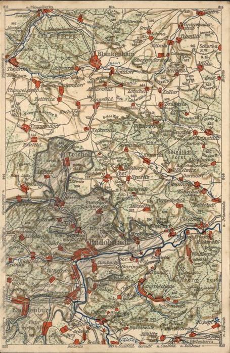 Rudolstadt mit Umgebung Landkarte Kat. Rudolstadt
