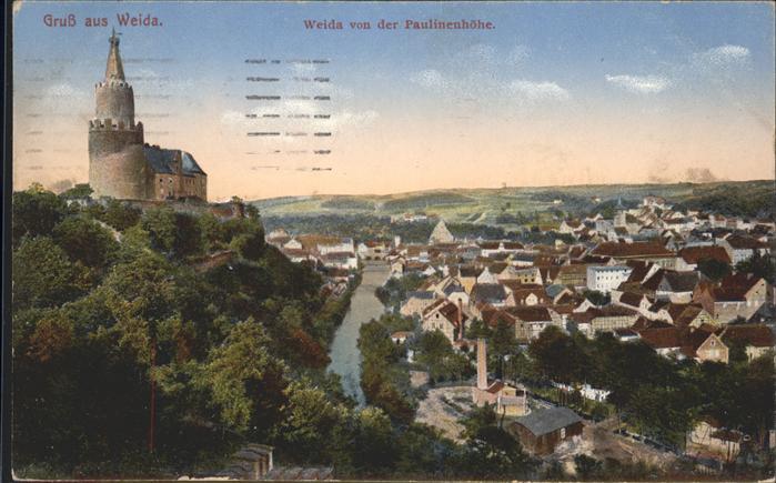 Weida Thueringen Schloss Blick von Paulinenhoehe Fluss Kat. Weida Thueringen