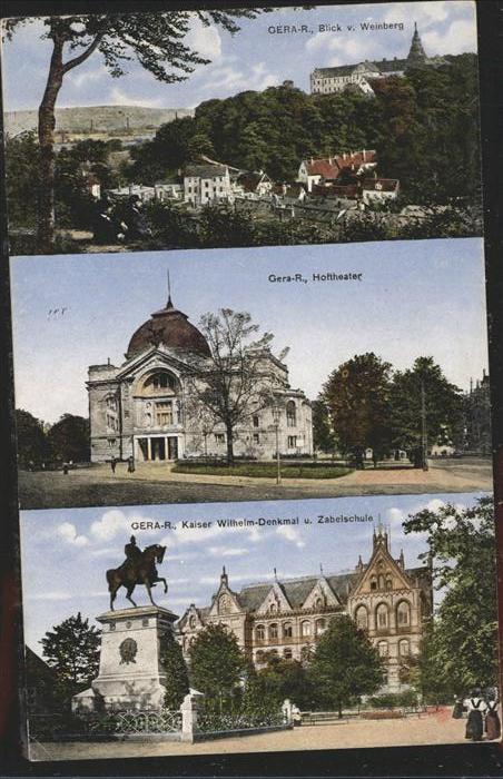 Gera Blick vom Weinberg Hoftheater Kaiser Wilhelm Denkmal Kat. Gera