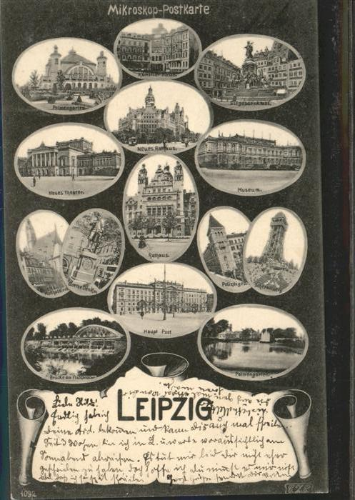 Leipzig Mikroskop Post Palmgarten Theater Kat. Leipzig