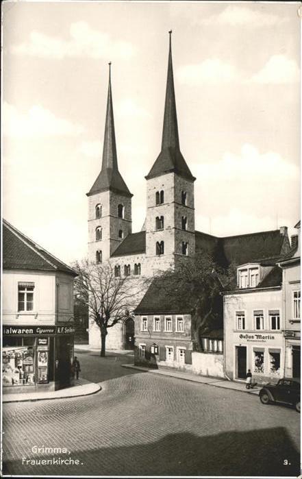 Grimma Frauenkirche u.Geschaeft von Klempnermeister Gustav Martin Kat. Grimma