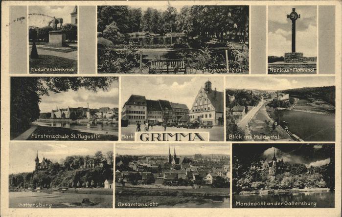Grimma Husarendenkmal u.Gattersburg (sauberer Werbestempel) Kat. Grimma