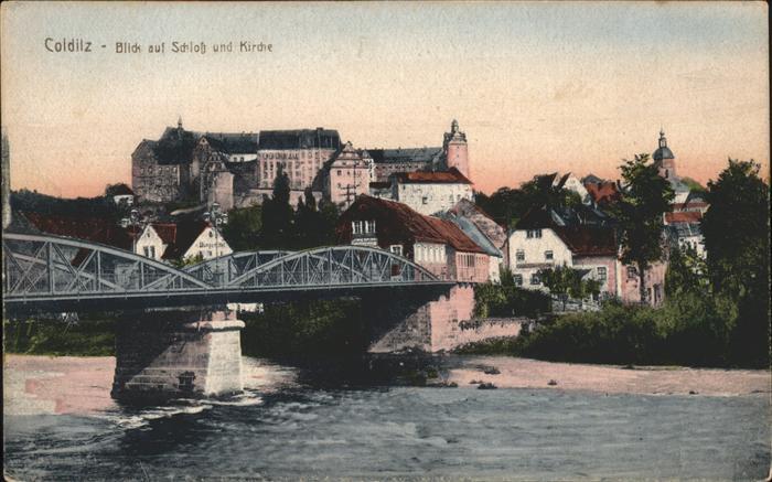 Colditz Blick auf Schloss u.Kirche Kat. Colditz