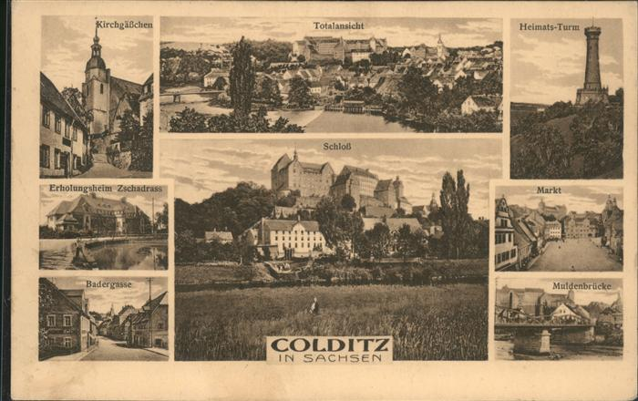 Colditz Kirchgaesschen u.Markt Kat. Colditz