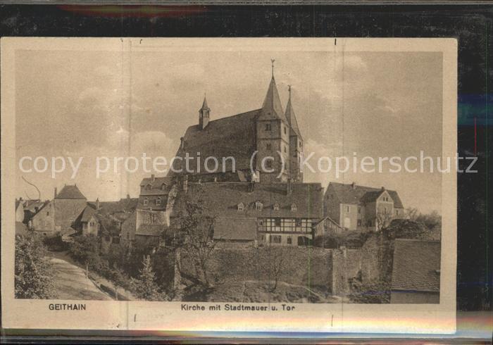 Geithain Kirche mit Stadtmauer Kat. Geithain