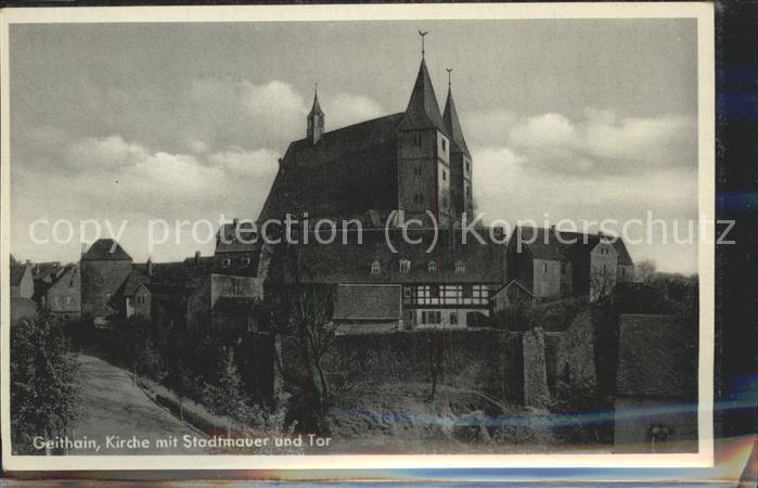 Geithain Kirche mit Stadtmauer u.Tor Kat. Geithain