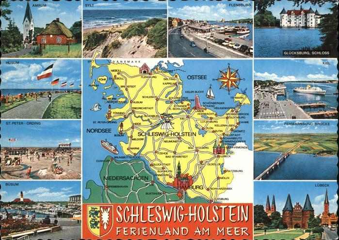 Burg Fehmarn uebersichtskarte Schleswig Holstein Ostsee Nordsee Ferienland am Meer Wappen Kat. Fehmarn