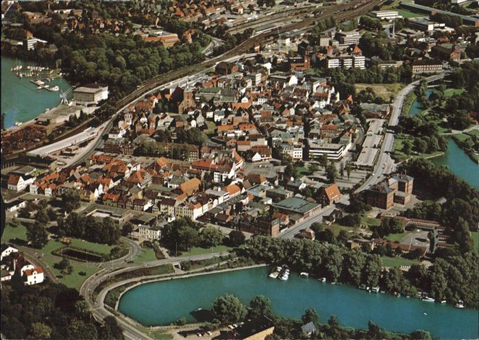 Rendsburg am Nord Ostsee Kanal Fliegeraufnahme Kat. Rendsburg