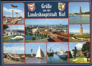 Kiel Panorama Hafen Landungsbruecke Schiff Segelboot Matrosen Ehrenmal Laboe Uferpromenade Denkmal Wappen Kat. Kiel
