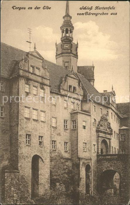 Torgau Blick vom Baerengraben Schloss Hartenfels Kat. Torgau