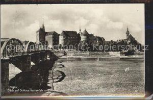 Torgau Schloss Hartenfels historische Bruecke Elbe Kirche Kat. Torgau