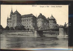 Torgau Schloss Hartenfels historische Bruecke Elbe Kat. Torgau