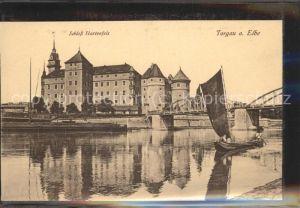 Torgau Schloss Hartenfels historische Bruecke Elbe Boot Kat. Torgau