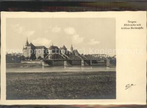 Torgau Schloss Hartenfels historische Bruecke Elbe Stadtkirche Kat. Torgau