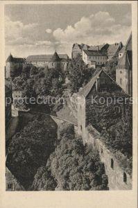 Bautzen Blick von der Alten Wasserkunst ueber Muehltor zum Schloss Ortenburg Stadtmauer Kat. Bautzen