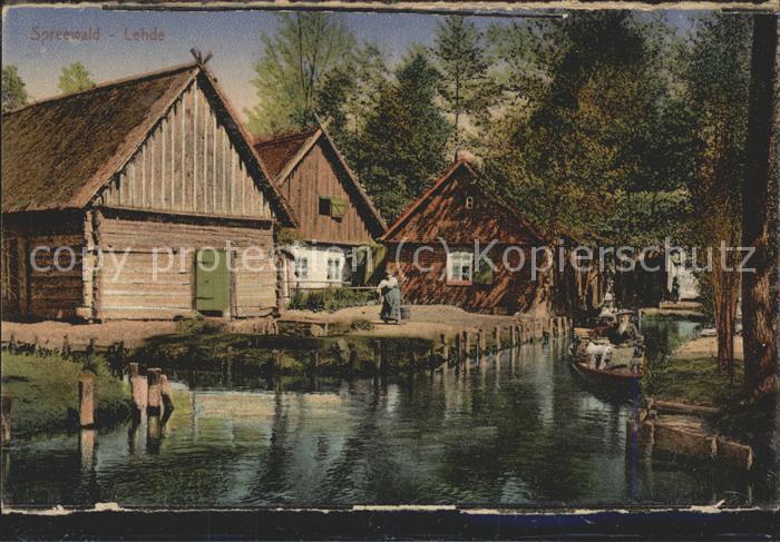 Lehde Dorfstrasse Wasserstrasse Kahn Kaupe Kat. Luebbenau