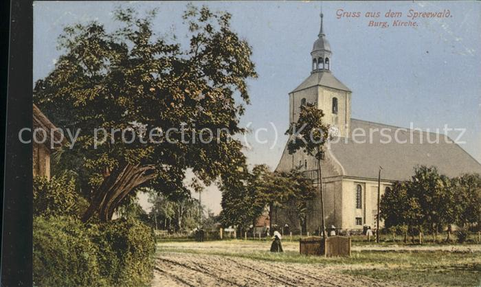 Burg Spreewald Kirche Bahnpost Kat. Burg Spreewald