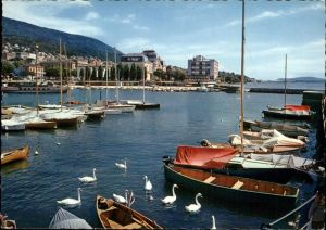 Neuchatel NE Le Port et l'Hotel Beaulac Lac Bateau Hafen See Schwan / Neuchatel /Bz. Neuchâtel