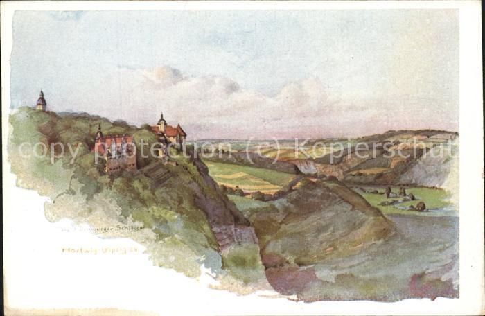 Dornburg Saale 3 Schloesser Aquarell v. W. Hartwig Kat. Dornburg Saale