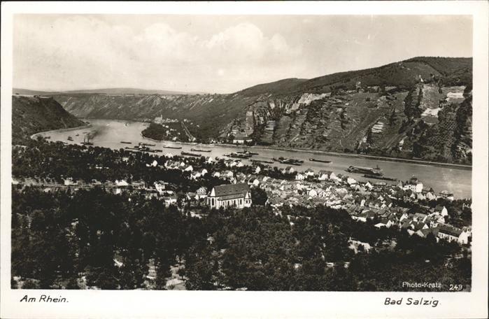 Bad Salzig Rheinpanorama mit Stadt Schiffe Kat. Boppard