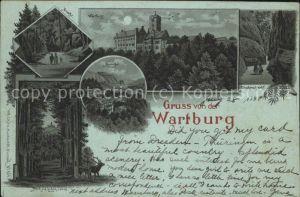 Wartburg Eisenach Wartburg Drachenfels Mariental Hohe Sonne bei Nacht Kat. Eisenach