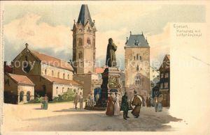 Eisenach Thueringen Karlsplatz mit Lutherdenkmal Kuenstlerkarte Kat. Eisenach