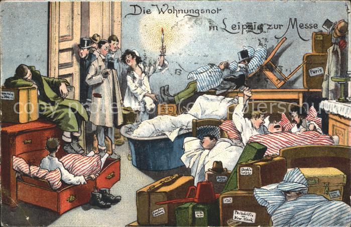 Leipzig Karikatur Wohnungsnot zur Messezeit Kat. Leipzig