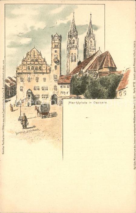 Oschatz Marktplatz mit Kirche Kat. Oschatz