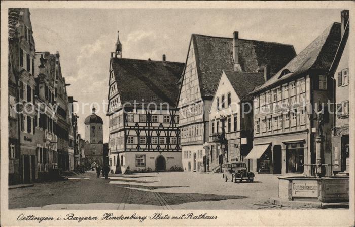Oettingen Hindenburg-Platz mit Rathaus / Oettingen i.Bay. /Donau-Ries LKR