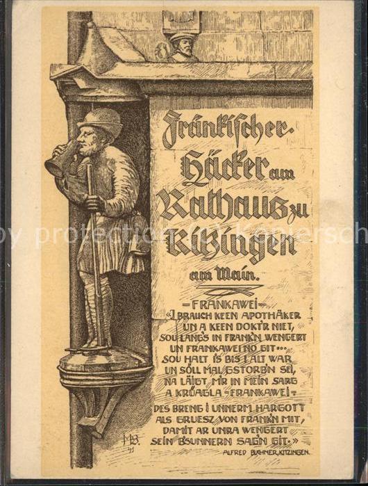 Kitzingen Fraenkischer Haecker am Rathaus in Kitzingen Kat. Kitzingen
