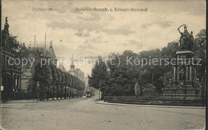 Hannover Kriegerdenkmal Hohenzollernstrasse Strassenbahn Kat. Hannover