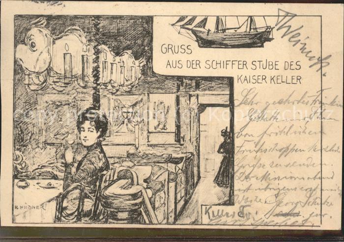 Berlin Kaiser Keller Schifferstube Zeichnung Kat. Berlin