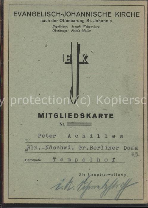Tempelhof Berlin Ev Johanniskirche Mitgliedskarte Kat. Berlin