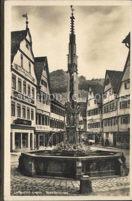 hd03799 Urach Bad Marktbrunnen u.Wurstfabrik Haas, links Kategorie.  Alte Ansichtskarten