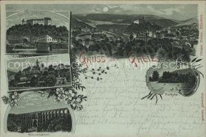 Greiz Thueringen Oberes Schloss Panorama bei Nacht Kat. Greiz