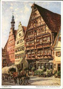 Moessler L. Dinkelsbuehl Hotel Deutsches Haus Pferdekutsche Kat. Kuenstlerkarte