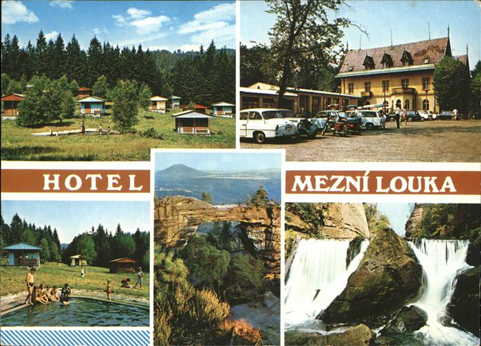 Hrensko Hotel Mezni Louka Wasserfall Felsen Kat. Herrnskretschen