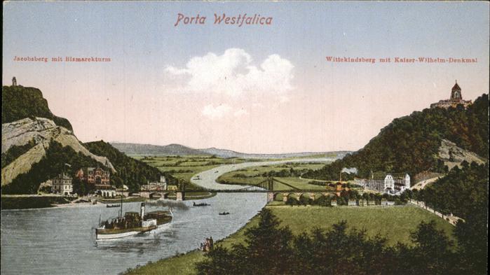 Porta Westfalica Jakobsberg mit Bismarckturm Wittekindsberg mit Kaiser Wilhelm Denkmal Kat. Porta Westfalica