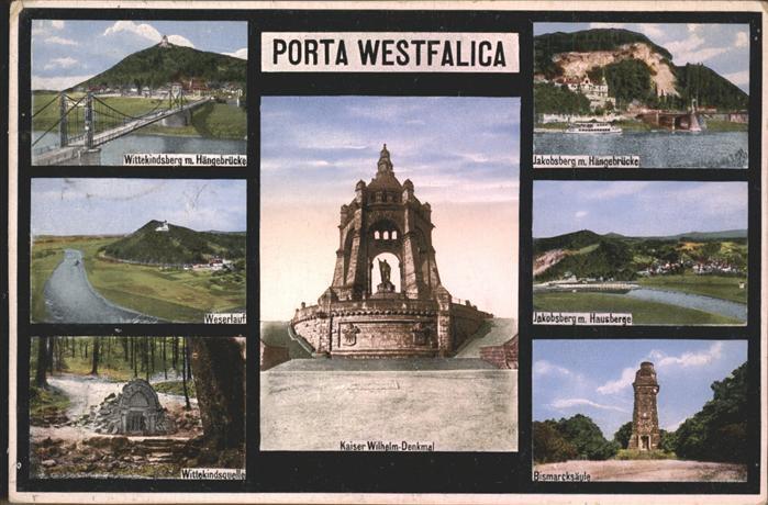 Porta Westfalica Wittekindsberg Haengebruecke Jakobsberg Weserlauf Wittekindsquelle Bismarcksaeule Kat. Porta Westfalica